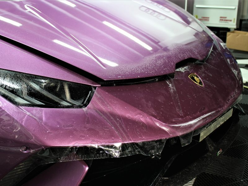 xpel ultimate paint protection film XPEL ULTIMATE Paint Protection Film Lamborghini Huracan Performance XPEL PPF Clear Bra 2 800x600