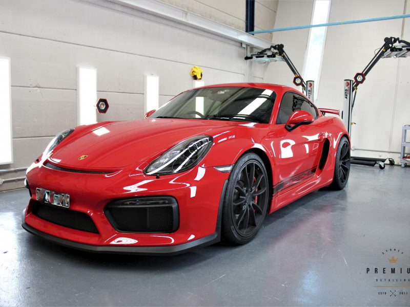 [object object] Sydney Premium Detailing Protection Portfolio Porsche GT4 Red Clear Bra XPEL ULTIMATE PLUS Paint Protection Film 01 800x600